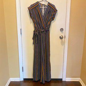 Monteau striped boho plunge neck jumpsuit